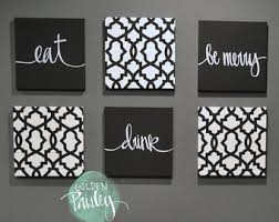 black white eat drink be merry wall art 6 pack canvas wall hanging painting fabric dining room black white decor kitchen wall art sign set on 6 piece wall art set with eat drink be merry navy home decor wall art 6 pack canvas