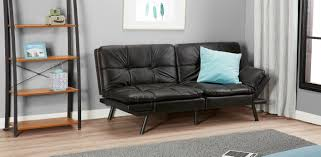 mainstays memory foam futon black faux leather