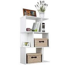 TOP MAX Wood Bookshelf Shelves S Shape Storage Display Shelving 3 Tiers  Bookcase Unit Room