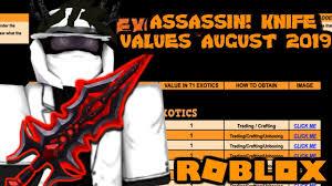 Roblox Assassin Value List August 2019