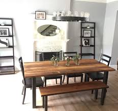 Modern Dining Table Industrial Reclaimed Wood And Post Metal Etsy