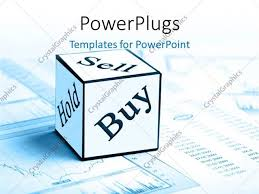Sell Powerpoint Templates Powerpoint Template Sell Buy And Hold Cube On Stock Market Chart