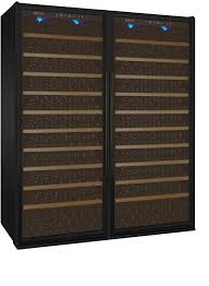 vite series 610 bottle dual zone wine refrigerator side by side with black doors