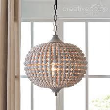 chandelier beaded metal wood beads white wash creative co op home model 16