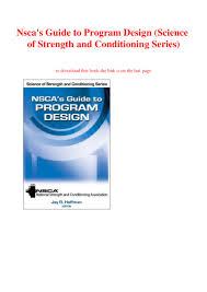 Nsca Program Design Pdf Ebook Pdf Nscas Guide To Program Design Science Of