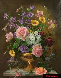 2018 retail albert williams the yellow dress still life of flowers in a copper vase oil painting hand fls oil paintings on canvas from wengjuan