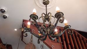 antique forged iron chandelier