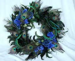 accessories artistic blue bauble and peacock feather decoration