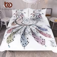 US $27.6 40% OFF BeddingOutlet Moon Dreamcatcher Bedding Set Queen Size Feathers Duvet Cover White Bed Set Beautiful Bedclothes 3pcs-in Bedding Sets ...