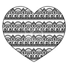 Fototapeta Mehndi Indický Henna Tetování Srdce Bezešvé Vzor