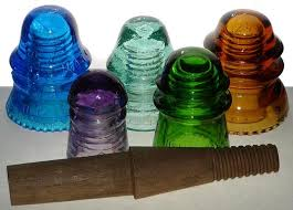 image of antique glass insulators pendant lights
