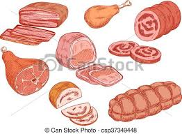 cooked ham drawing. Contemporary Ham Sausages Ham And Baked Meat Sketch Icons  Csp37349448 To Cooked Ham Drawing T