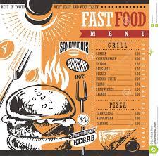 Design Fast Food Menu Fast Food Restaurant Menu Design Stock Vector Illustration