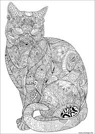 Coloriage Chat Adulte Difficile Antistress Animaux Dessin