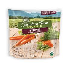 Mirepoix, a french term, is typically made up of onion, carrot, and celery. Frozen Mirepoix Blend Cascadian Farm Organic