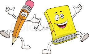 pencil and book cartoon character vector