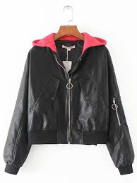 fashion plus size hooded black leather jacket for women newchic plus size outerwear