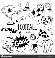 Football Doodle Hand Drawing Styles Football Stock Vector