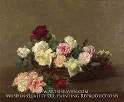 a basket of roses by henri fantin latour