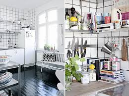 View in gallery Kitchen with stainless steel shelving and gridded walls