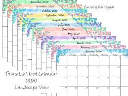 November 2020 Calendar Landscape Printable Calendar 2020 Monthly Landscape View Floral Calendar Instant Download