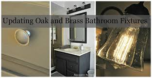 how to update oak and brass bathroom fixtures with spray paint and chalk paint