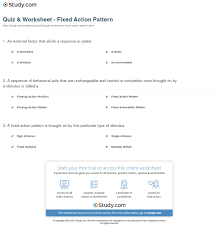 Fixed Action Pattern Example Simple Quiz Worksheet Fixed Action Pattern Study