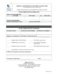 Work Authorization Form Template Return Authorization Template Free Medical Clearance Forms 15