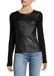 long sleeve faux leather top