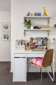 Decorations : Small Home Office Space With White Small White Wood Computer  Desk And White Painted Wood Wall Shelves Also Contemporary Brown Chair Tips  to ...