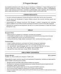 Project Manager Sample Resume Format Resumes For Project Managers
