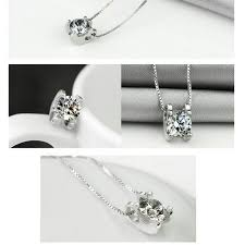 silver plated cz diamond pendant necklace include free quality velvet box women s fashion on carou