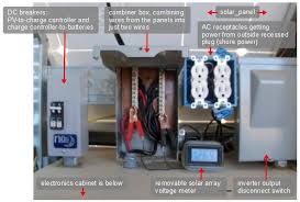 mobile off grid solar power system dc breakers in a midnite solar box combiner box receptacles using shore power and