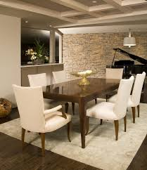Modern dining room with clean lines and neutral stone wall | Dine Your  Heart Out | Pinterest | Stone accent walls, Eldorado stone and Stone walls