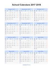 School Calendar Template 2015 2020 School Calendars 2017 2018 Calendar From August 2017 To
