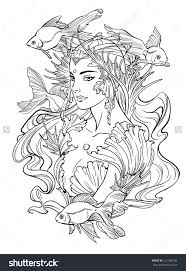 Illustration Of Mermaid Princess With Curled
