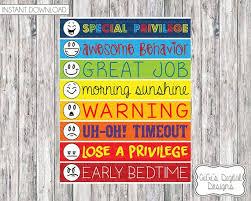 11x14 Behavior Chart For Kids Childrens Behavior Chart Digital Chart Childrens Behavioral Chart Digital Prints Printable Chart