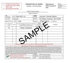 Example Of Bill Of Lading Document Bill Of Lading Bl Or Bol With Examples 2019 Tfg Free Bol