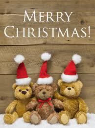 Cute Santa Teddy Bear Merry Christmas Card Birthday Greeting