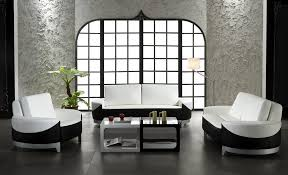 Cheap Simple Wonderful Black And White Contemporary Interior - Living room furniture white
