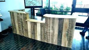 tufted reception desk rustic wood plank custom padded rustic real wood reception desk with apple desktop and receptionist industrial salon