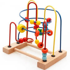 Wooden Bead Game Interesting Kids Intelligence Early Learning Toys Wooden Wire Round Bead Maze