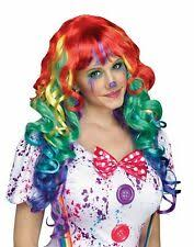 NEW Girls Boys Kids Multi Color Rainbow Curly Hair Clown ...