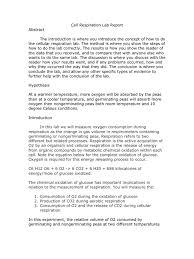 cellular respiration lab report cellular respiration oxygen