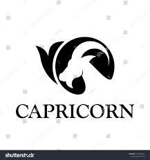 Capricorn Logo Design Simple Modern Flat Icon Black Capricorn Stock Vector