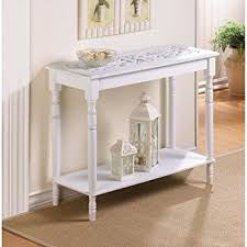 A Carved Top Distressed WHITE Chic Shabby Wood Sofa Console Entry Hall Table  Shelf