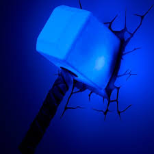 Thor Hammer 3d Wall Light Showing Photos Of 3d Wall Art Thor Hammer Night Light View