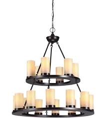 ring 2 tier 18 lt chandelier with candle globes