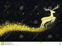 Reindeer Silhouette Lights Christmas Reindeer Silhouette With Golden Twinkling Lights