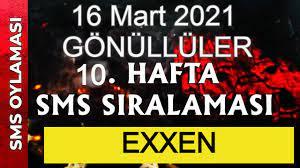 Survivor sms sıralaması 16 Mart 2021 Survivor Gönüllüler 10. hafta sms oy  sıralaması exxen - Finans Ajans